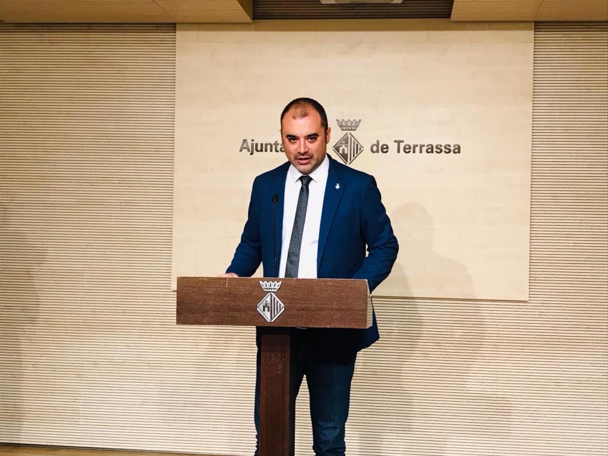 L'alcalde de Terrassa, Jordi Ballart, durant la compareixença institucional sobre la sentència 1-O