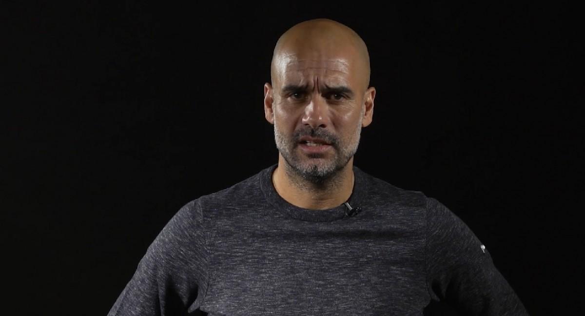 Guardiola durant el missatge emès per TV3, la BBC i FP