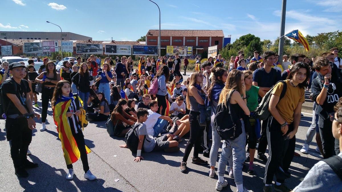 Bloqueig de l'autopista a l'accés a Sabadell