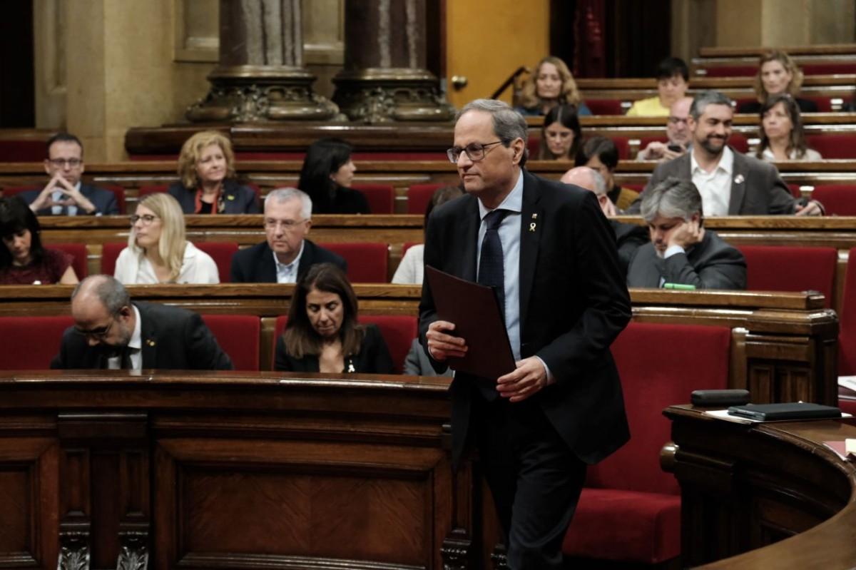 El president de la Generalitat, Quim Torra, aquest dijous al Parlament