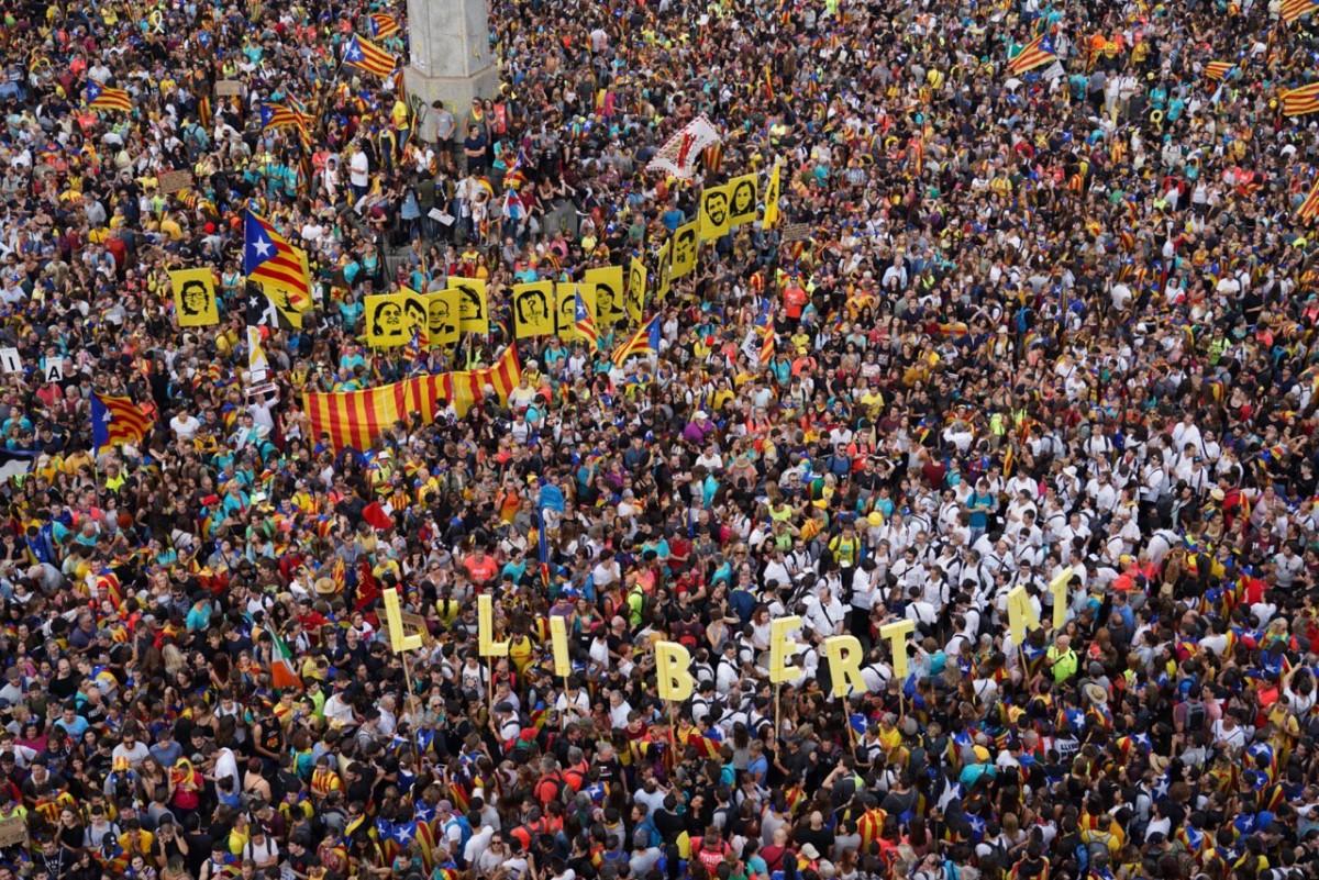 Manifestació a Barcelona per la vaga general del 18-O
