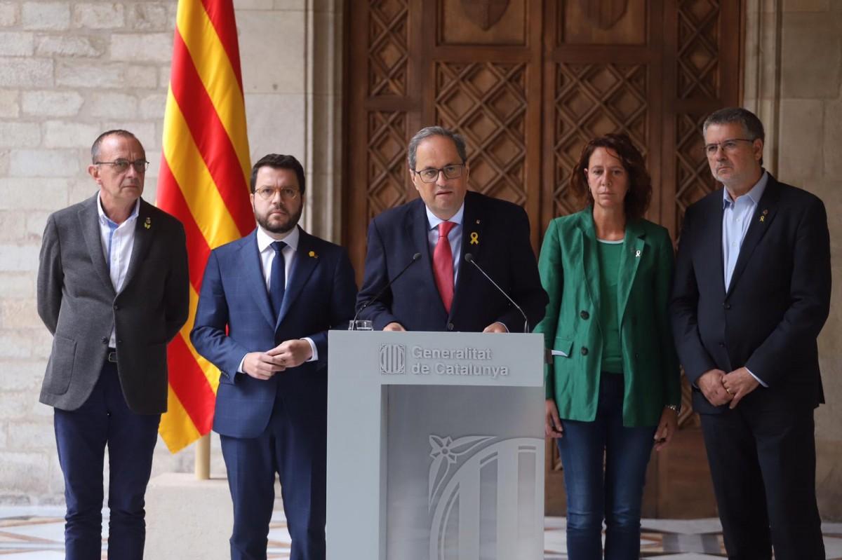Compareixença de Quim Torra al Palau de la Generalitat pels aldarulls dels últims dies