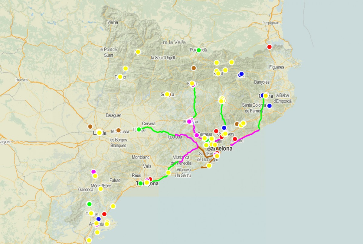 Mapa amb els punts on hi ha hagut protestes contra la sentència de l'1-O i la repressió.