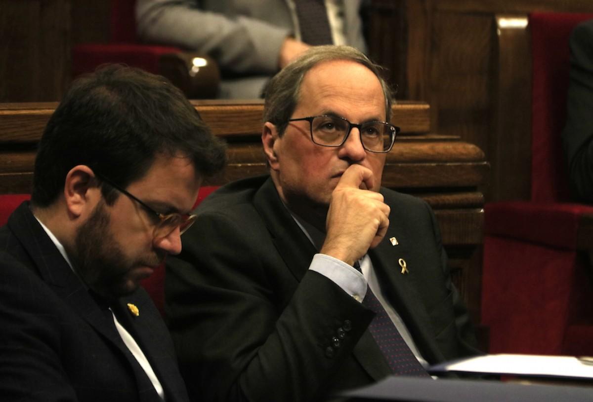 Quim Torra i Pere Aragonès, aquest dimecres al Parlament