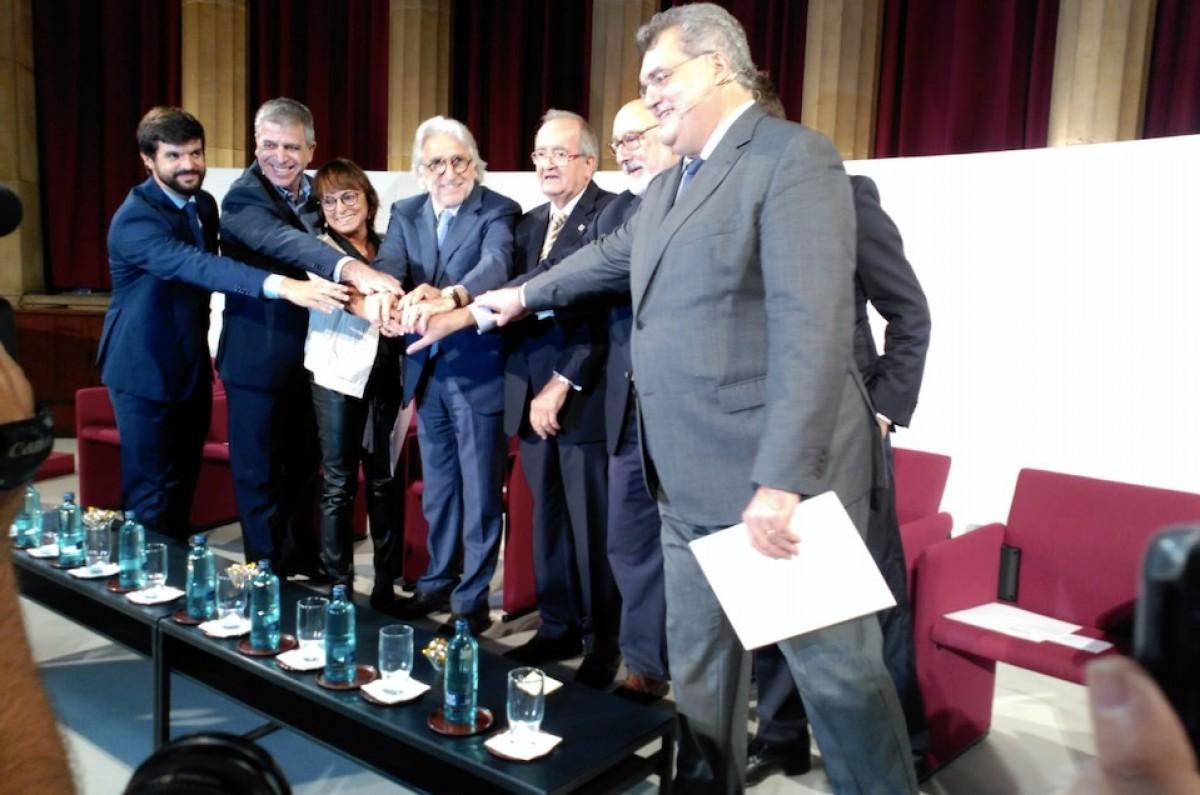 Dirigents de Foment i Pimec en l'acte empresarial d'avui.