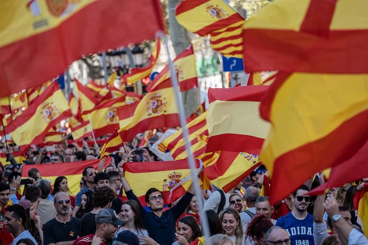 Manifestació a Barcelona amb motiu del Dia de la Hispanitat, el 12 d'Octubre d'enguany.