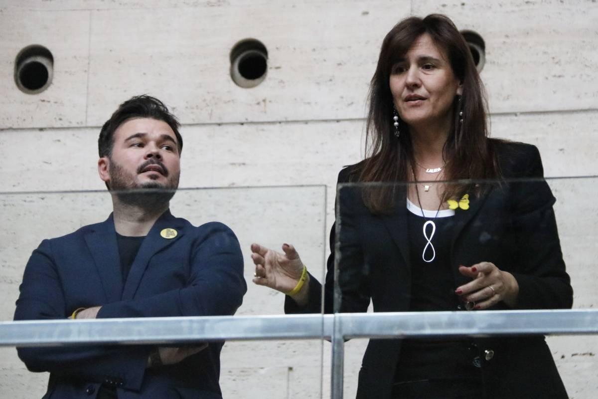 Gabriel Rufián i Laura Borràs, en una imatge d'arxiu