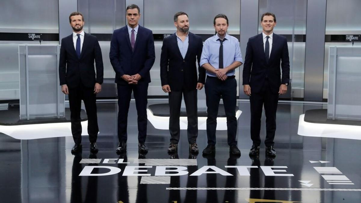 Casado, Sánchez, Abascal, Iglesias i Rivera, en el debat electoral a cinc de dilluns passat