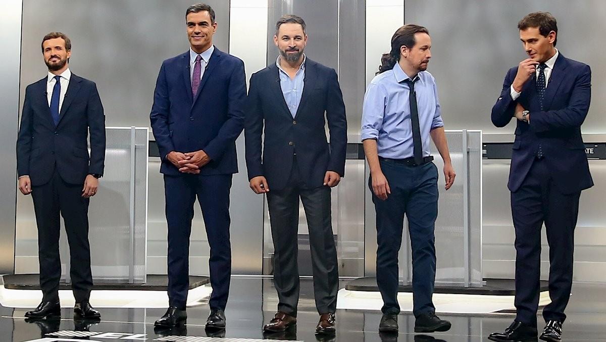 Els cinc candidats dels principals partits espanyols, a debat
