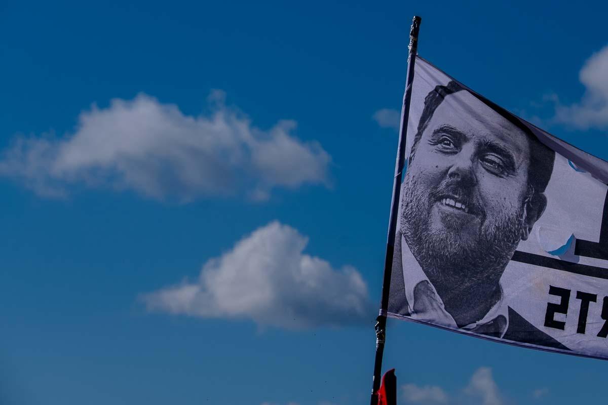 Pancarta amb el rostre d'Oriol Junqueras a Lledoners