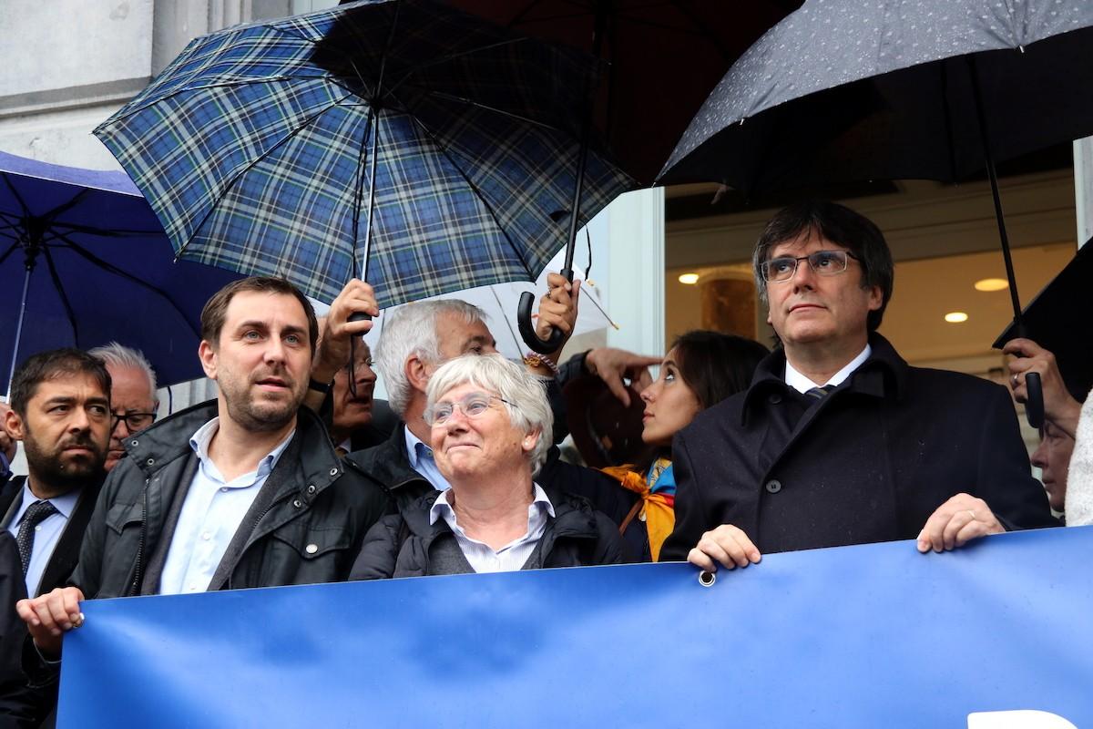 Comín, Ponsatí i Puigdemont, en un acte a Brussel·les