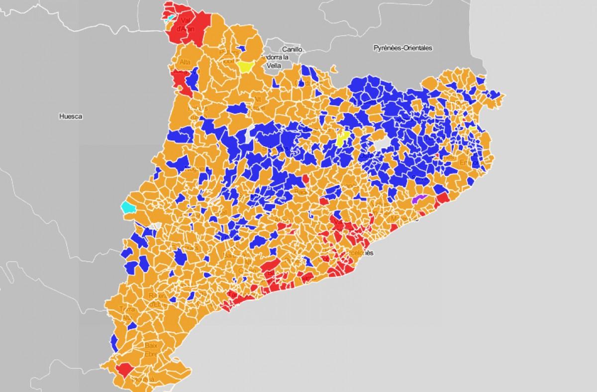 Mapa de Catalunya, en funció del partit més votat el 10-N.