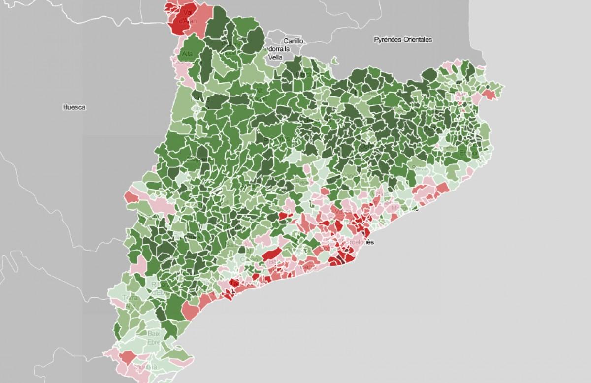 Municipis de Catalunya, en funció del suport a l'independentisme el 10-N.