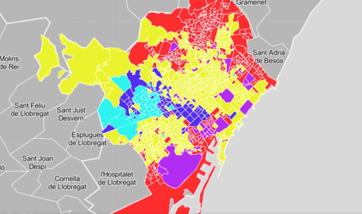 Barcelona, amb les seccions censals amb el color del partit guanyador.