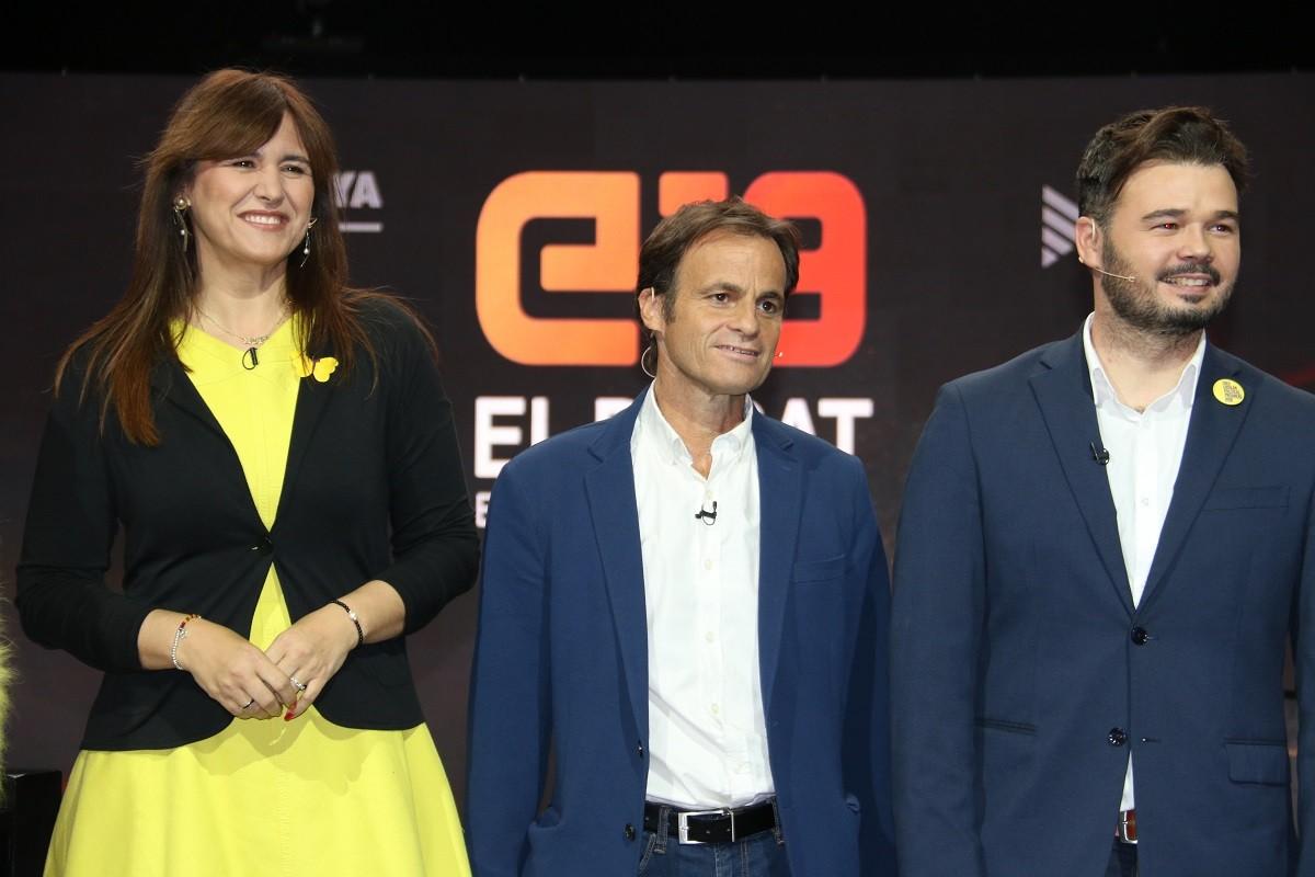 Laura Borràs, Jaume Asens i Gabriel Rufián, en un debat electoral