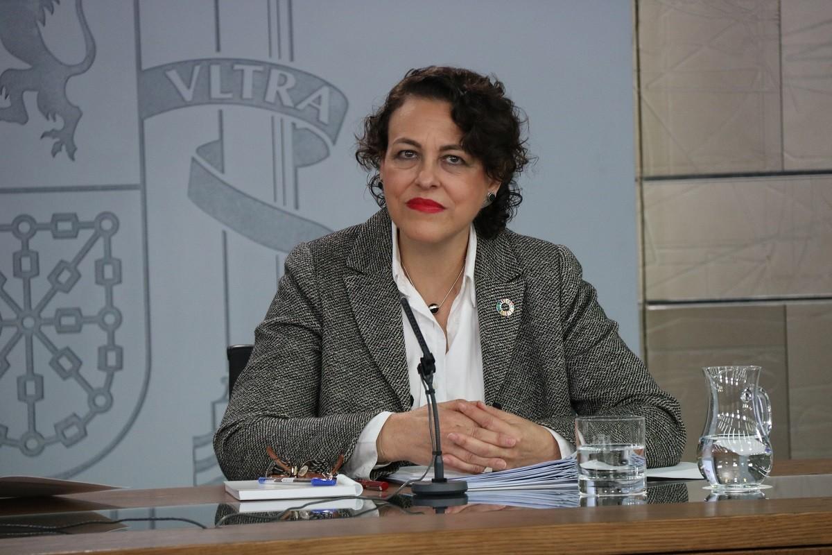 La ministra de Treball, Magdalena Valerio, aquest divendres en roda de premsa