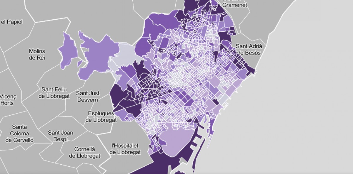 Mapa de Barcelona per seccions censals, segons els vots a Vox.