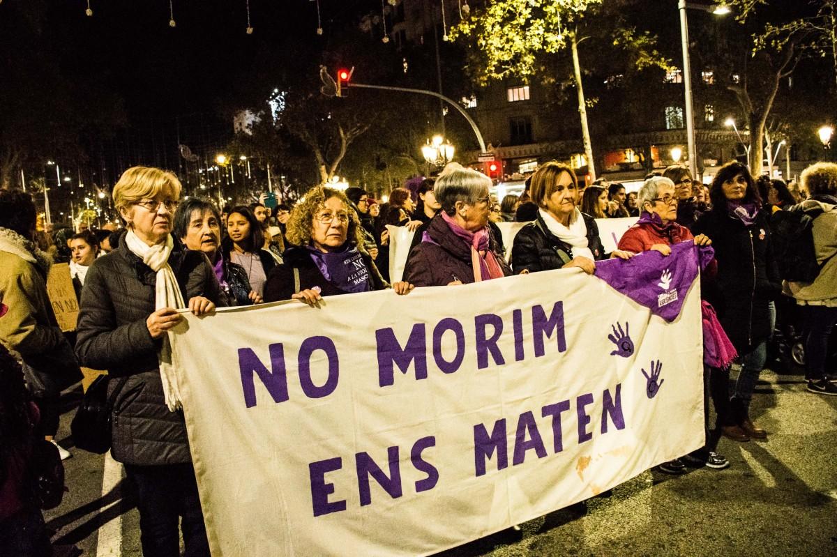 Manifestació contra les violències masclistes, a Barcelona.