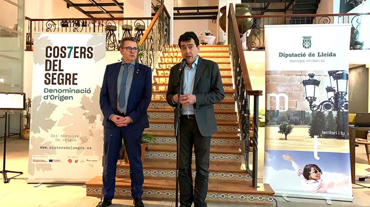 El president de la Diputació de Lleida, Joan Talarn i el de la DO Costers del Segre, Tomàs Cusiné