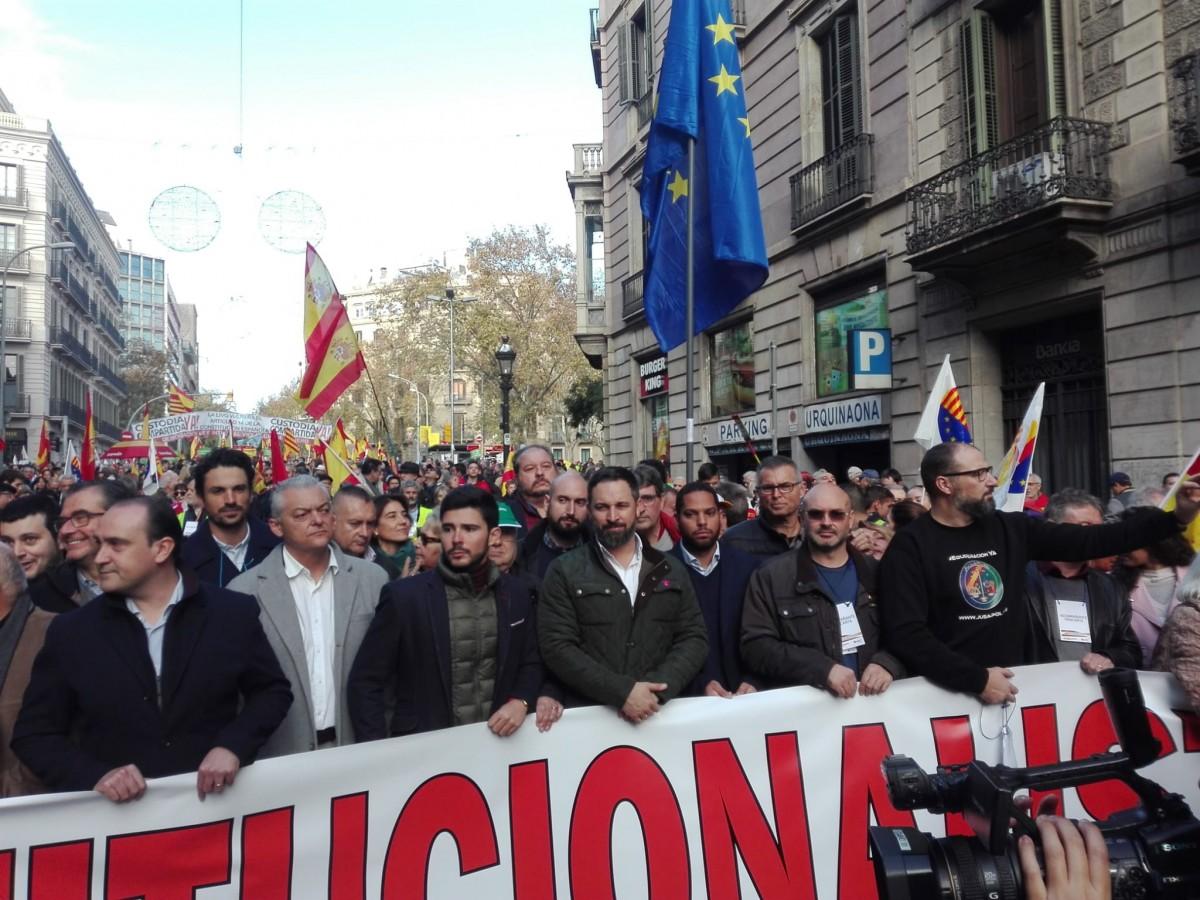 El líder de Vox, Santiago Abascal, aquest  matí a Barcelona