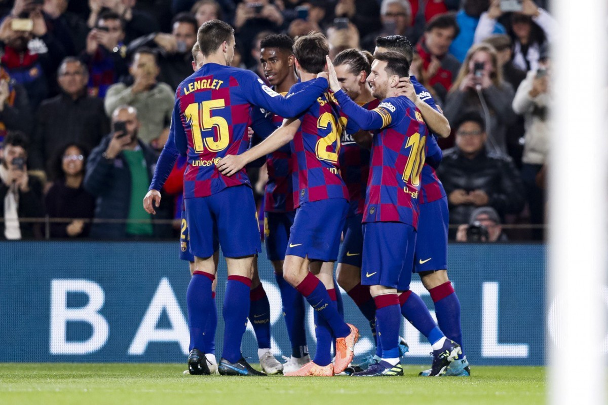 Els blaugrana celebrant un dels gols contra el Mallorca