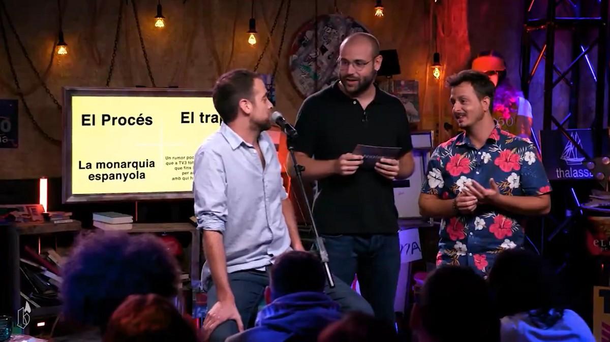 Joel Cockburn, Manel Vidal i Marc Sarrats, en un dels moments del programa pilot