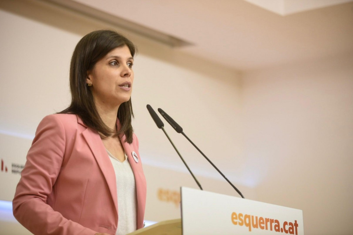 La secretària general adjunta d'ERC, Marta Vilalta, en roda de premsa