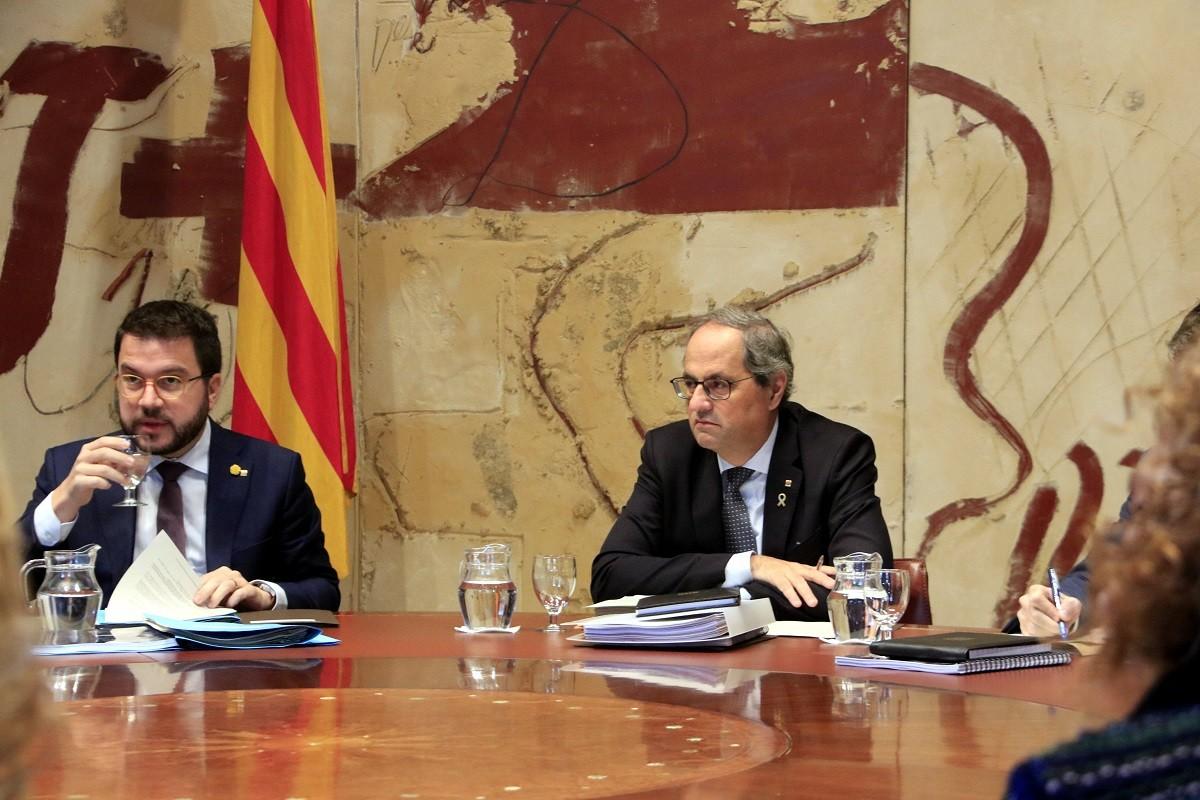 Quim Torra i Pere Aragonès, en la reunió del Govern del 10 de desembre del 2019
