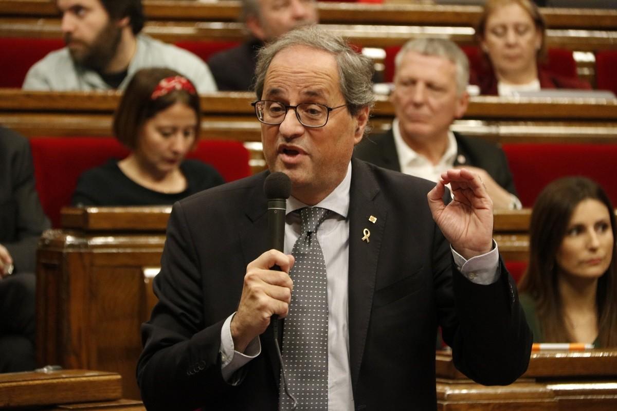 El president de la Generalitat, Quim Torra, aquest dimecres al Parlament