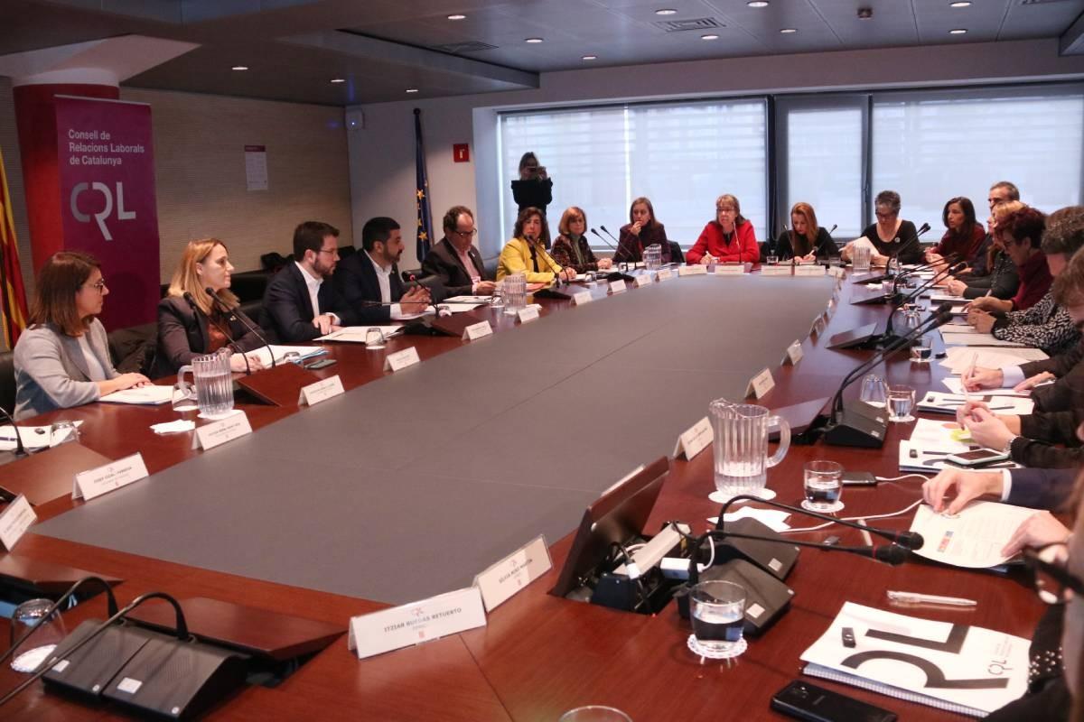 Reunió d'aquest dijous del Consell de Relacions Laborals, amb Pere Aragonès i Chakir El Homrani.