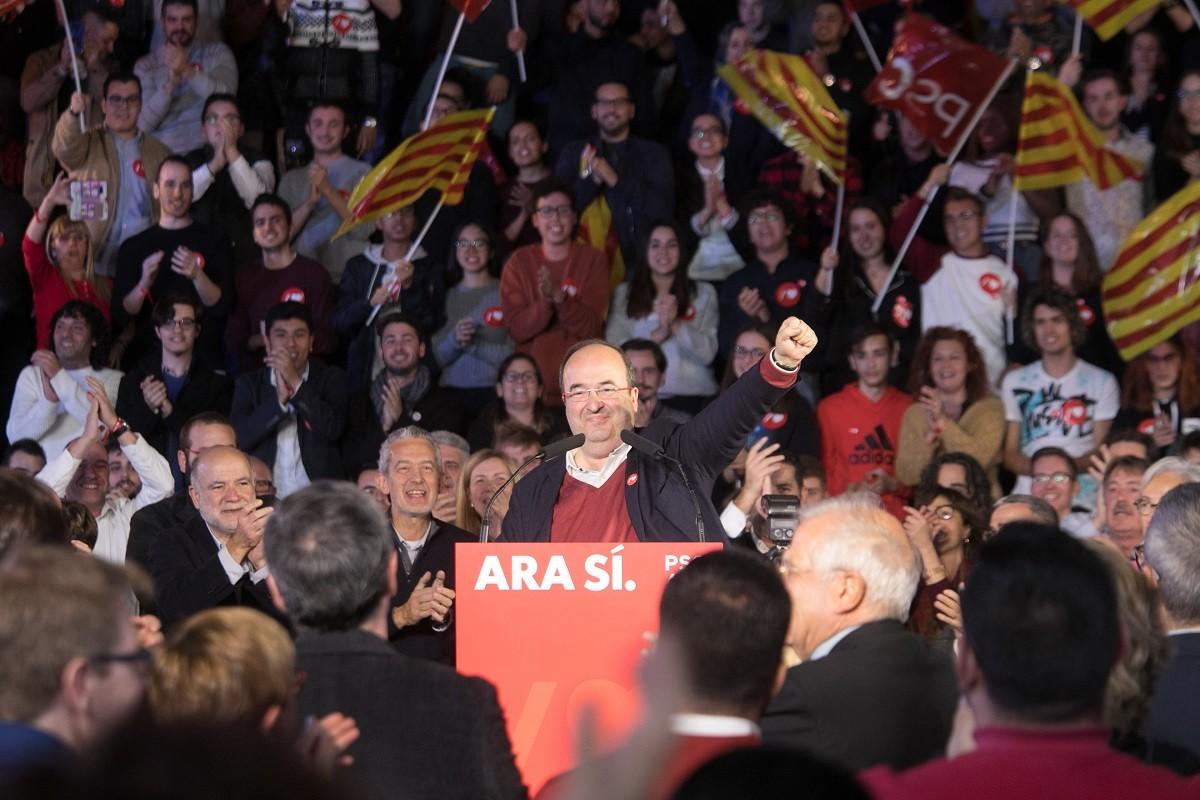El líder del PSC, Miquel Iceta, en un míting