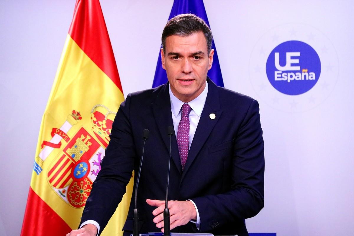 Pedro Sánchez, aquest divendres en roda de premsa a Brussel·les