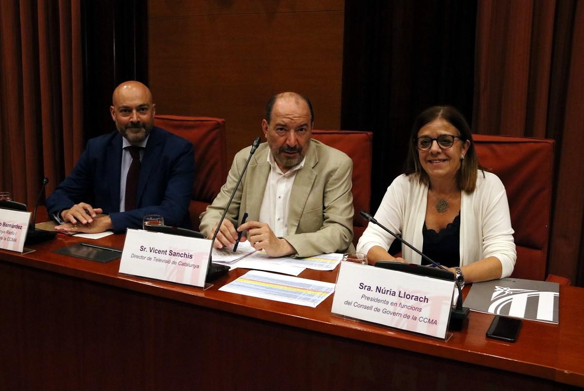 De dreta a esquerra: Núria Llorach (CCMA), Vicent Sanchis (TV3) i Saül Gordillo (CatRàdio).