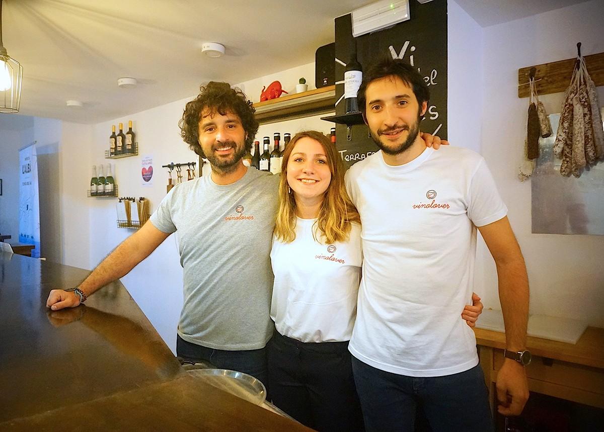 Nicolas, Lili i Guilhem, de la vinoteca Amovino. Foto: AMovino