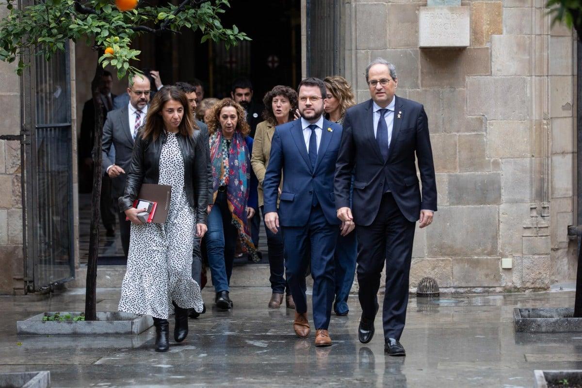 Quim Torra i Pere Aragonès, al capdavant del Govern, aquest divendres al Palau de la Generalitat