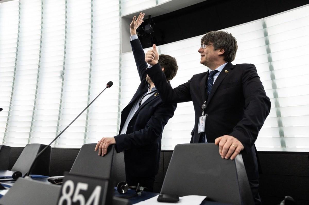 Puigdemont i Comín, a l'Eurocambra.
