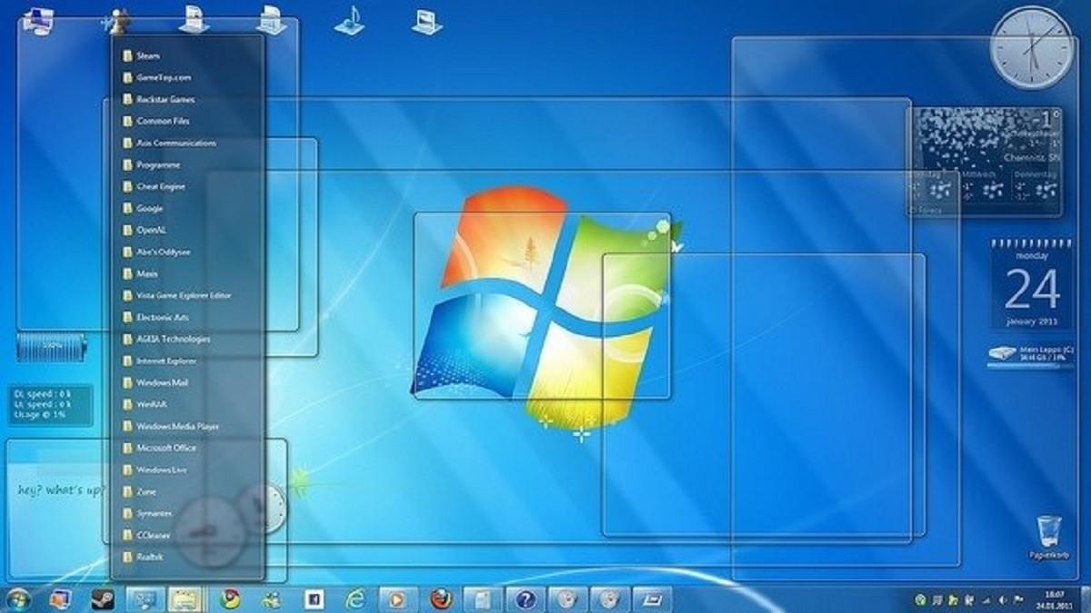 L'escriptori d'un ordinador amb Windows 7.