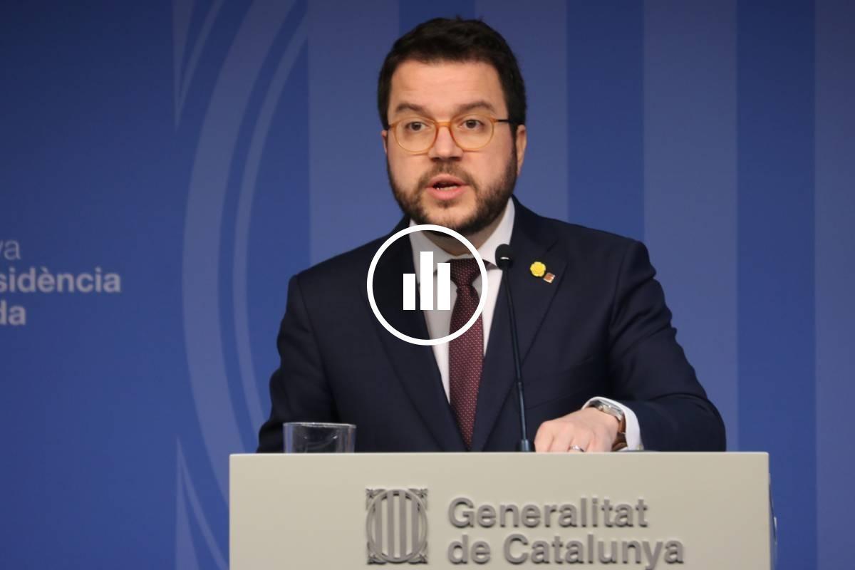 Pere Aragonès, en la roda de premsa de presentació dels pressupostos del 2020.
