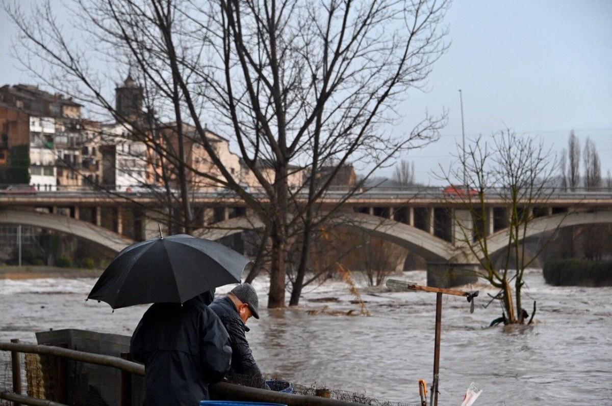 El riu Ter al seu pas per Roda de Ter, a Osona, aquest matí.