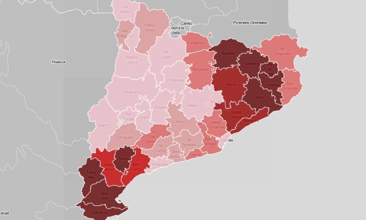 Mapa comarcal, en funció dels litres d'aigua caiguts durant la llevantada.