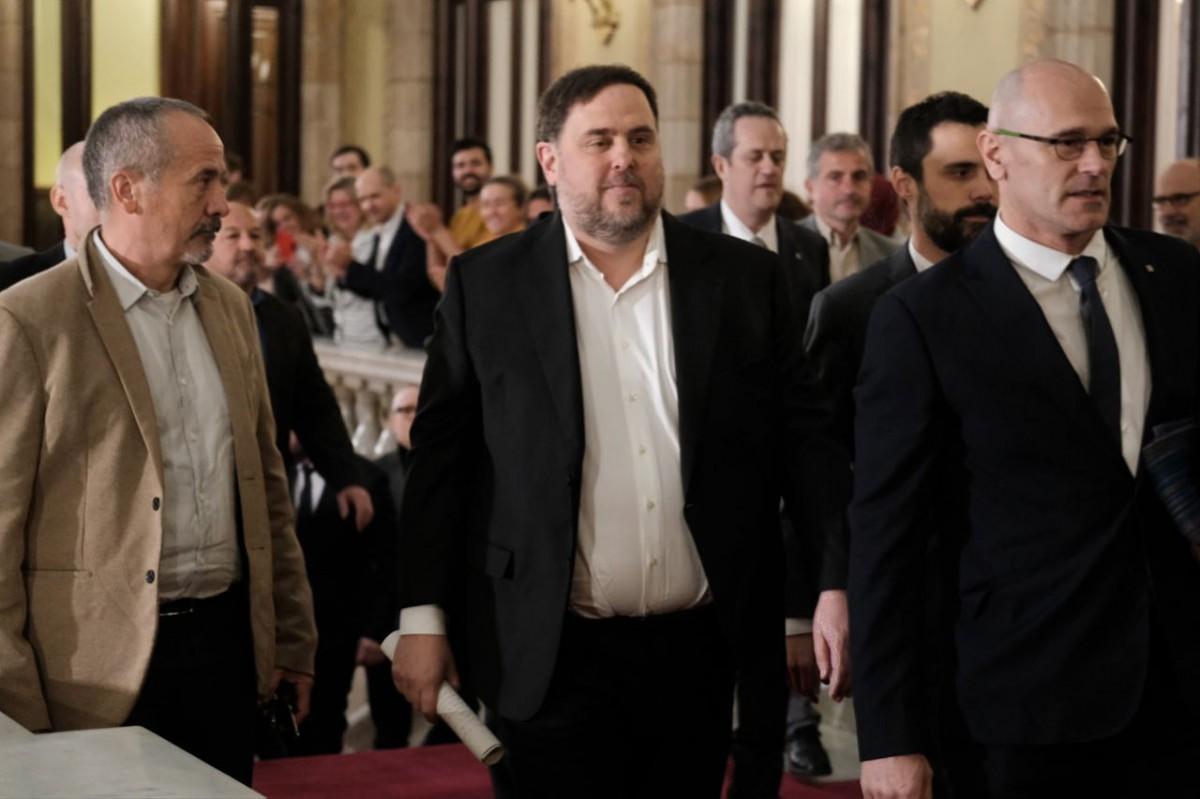 Oriol Junqueras i Raül Romeva, el 28 de gener al Parlament