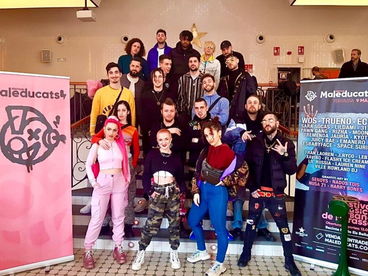 Alguns dels artistes que participaran al Maleducats 2020, aquest dimarts a la presentació del festival.