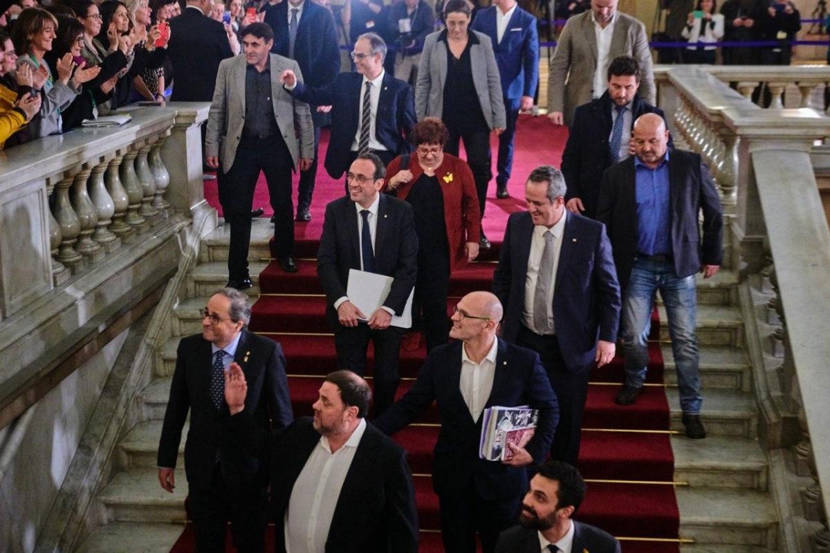 Els presos polítics, en una imatge al Parlament