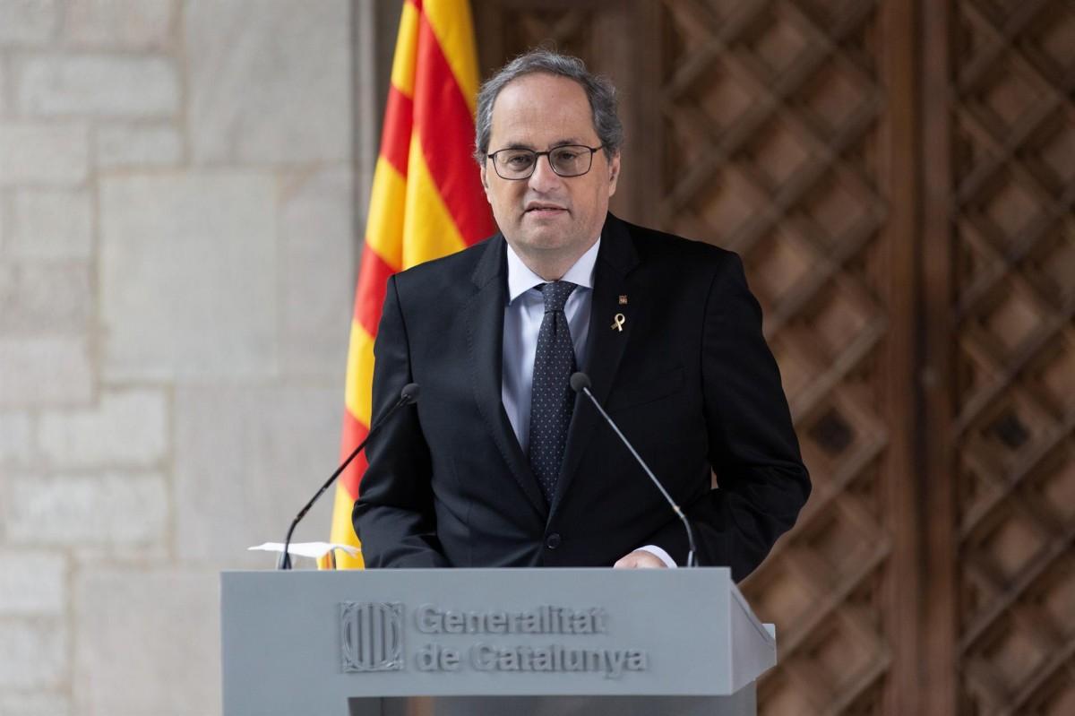 El president de la Generalitat, Quim Torra, aquest dimecres a la Generalitat