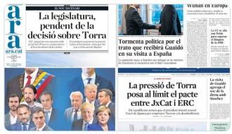 PORTADES La legislatura, pendent de la decisió sobre Torra i terratrèmol polític a Espanya