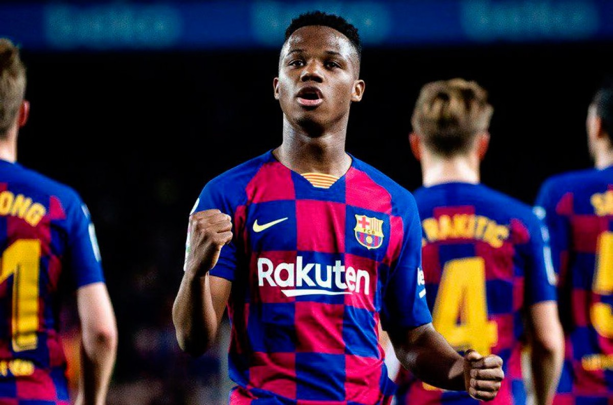 Ansu Fati celebra un gol contra el Llevant