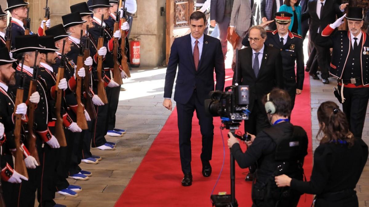 Quim Torra i Pedro Sánchez, el dijous 6 de febrer al Parlament