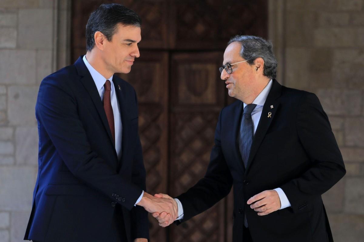 Quim Torra i Pedro Sánchez, fa dues setmanes al Palau de la Generalitat.