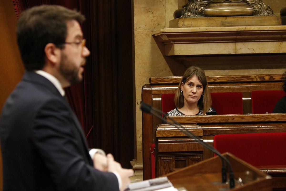 El vicepresident Pere Aragonès i la candidata dels comuns, Jéssica Albiach, al Parlament