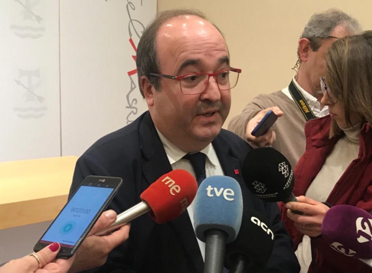 El líder del PSC, Miquel Iceta, després de la trobada d'aquest dilluns a La Canonja